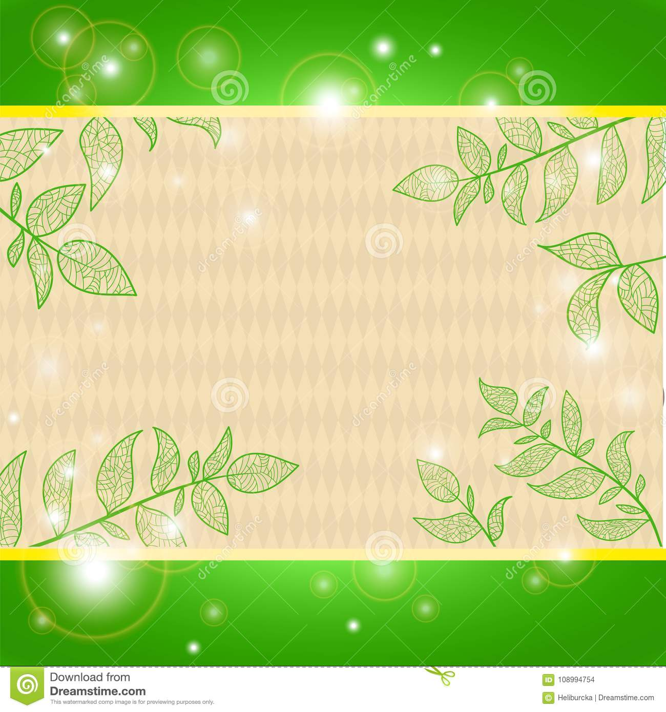 Background With Branches And Leaves Stock Illustration