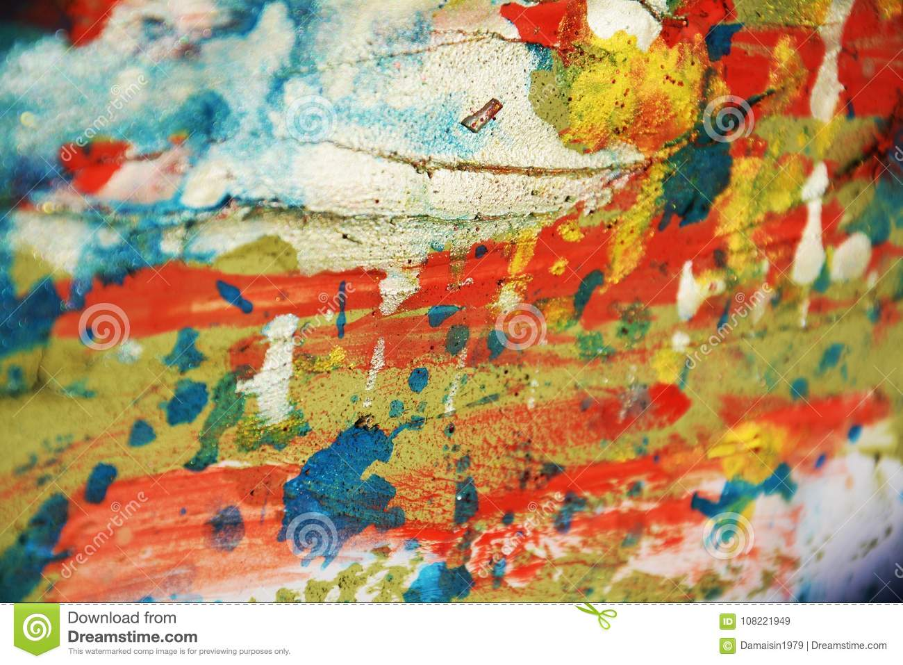 Silver green orange blue red pastel waxy spots background and brush strokes, hues, spots