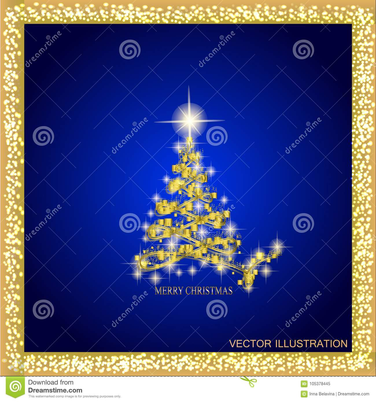 download abstract background with gold christmas tree and stars illustration in blue and gold colors