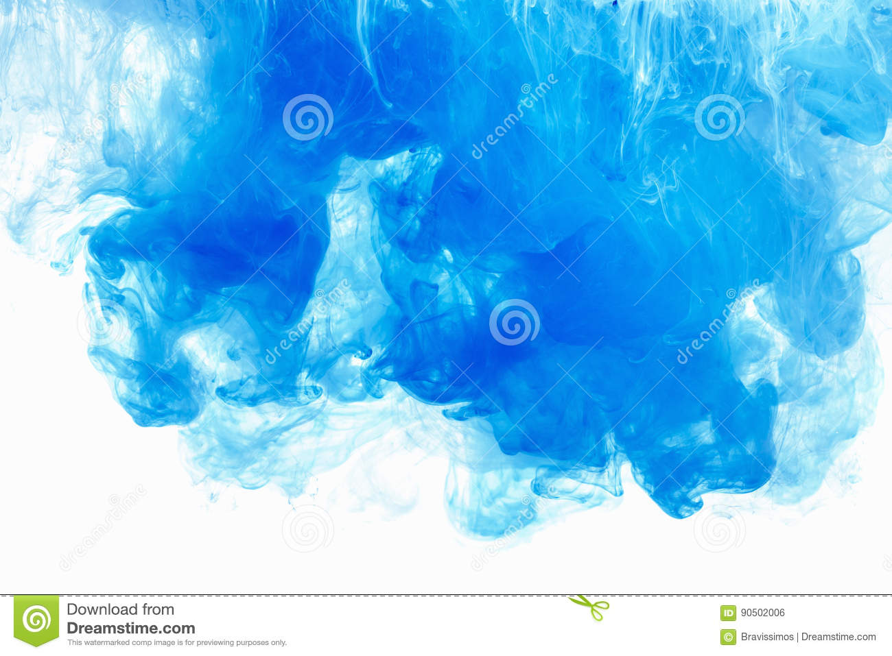 Abstract background color ink drop in water. Blue cloud of paint on white.