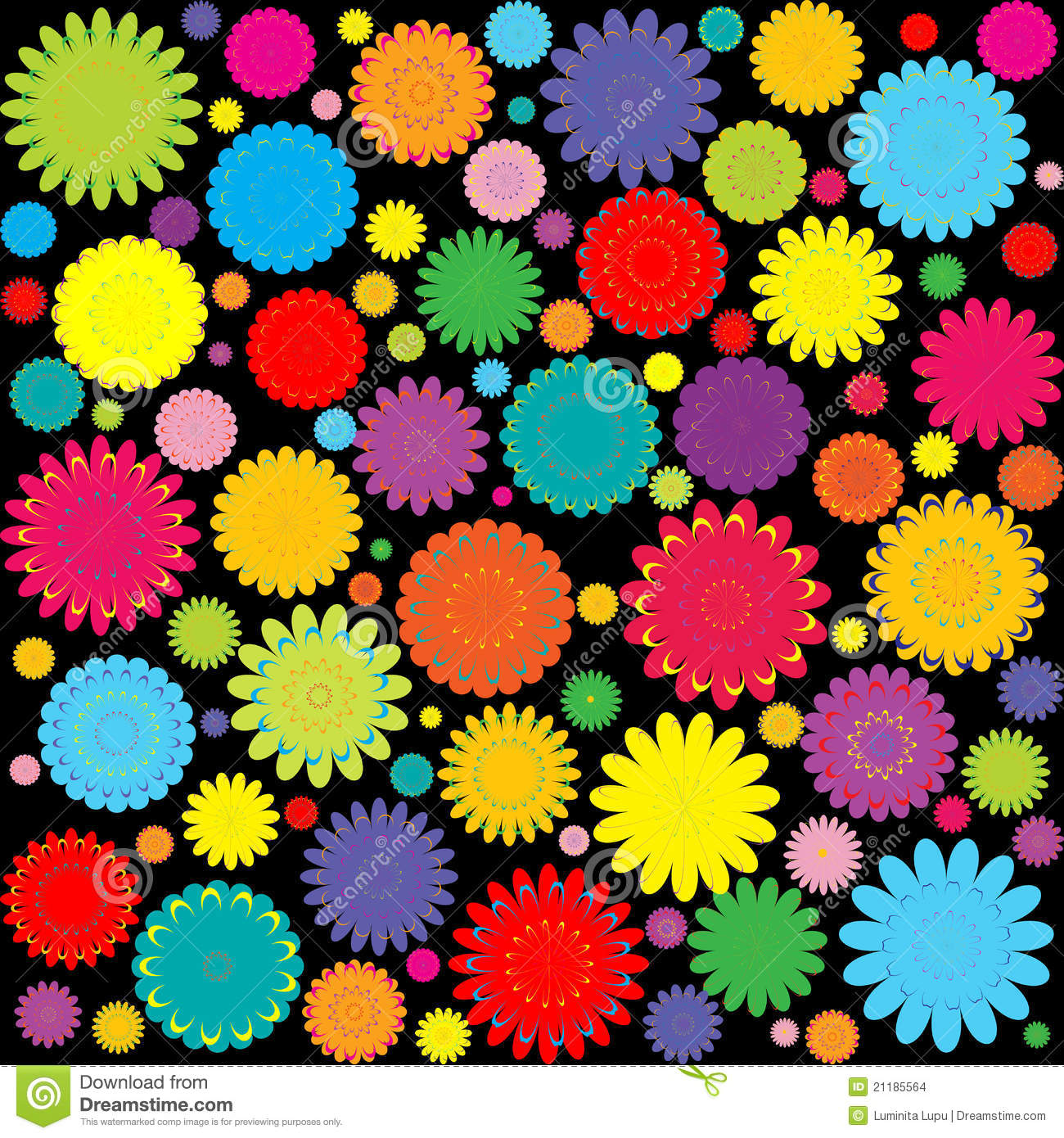 Abstract background with colored flowers