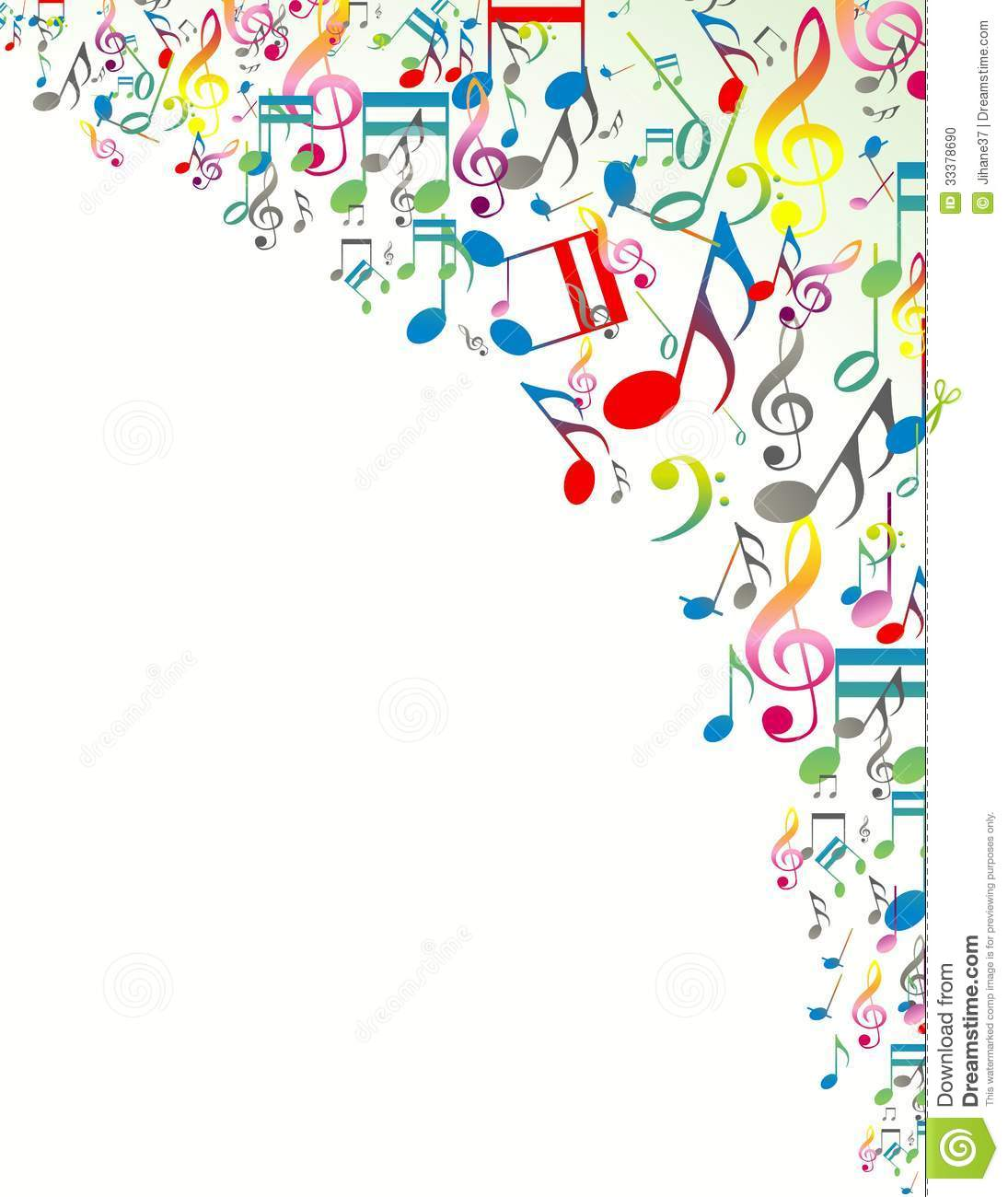 Abstract Background With Colorful Music Notes Stock ...