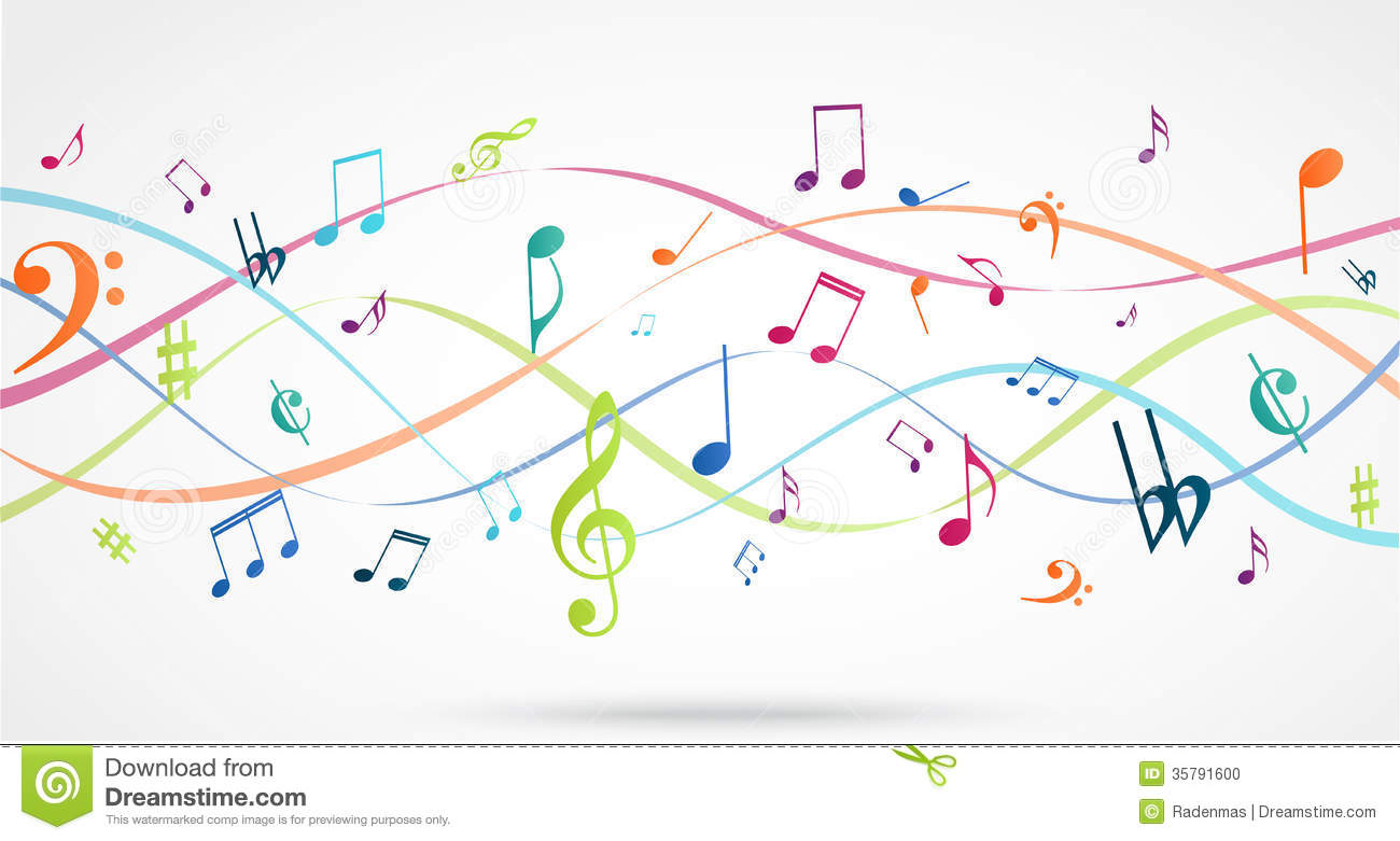 Abstract Background With Colorful Music Notes Stock Vector