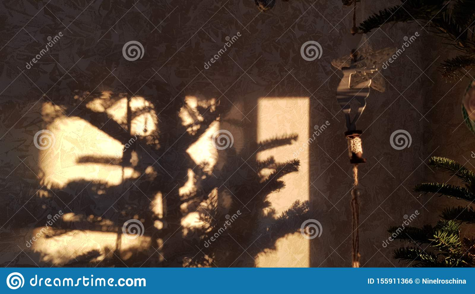 Hanging Christmas Ornaments Silhouette.Abstract Background Of Conifer Branches With Silhouette