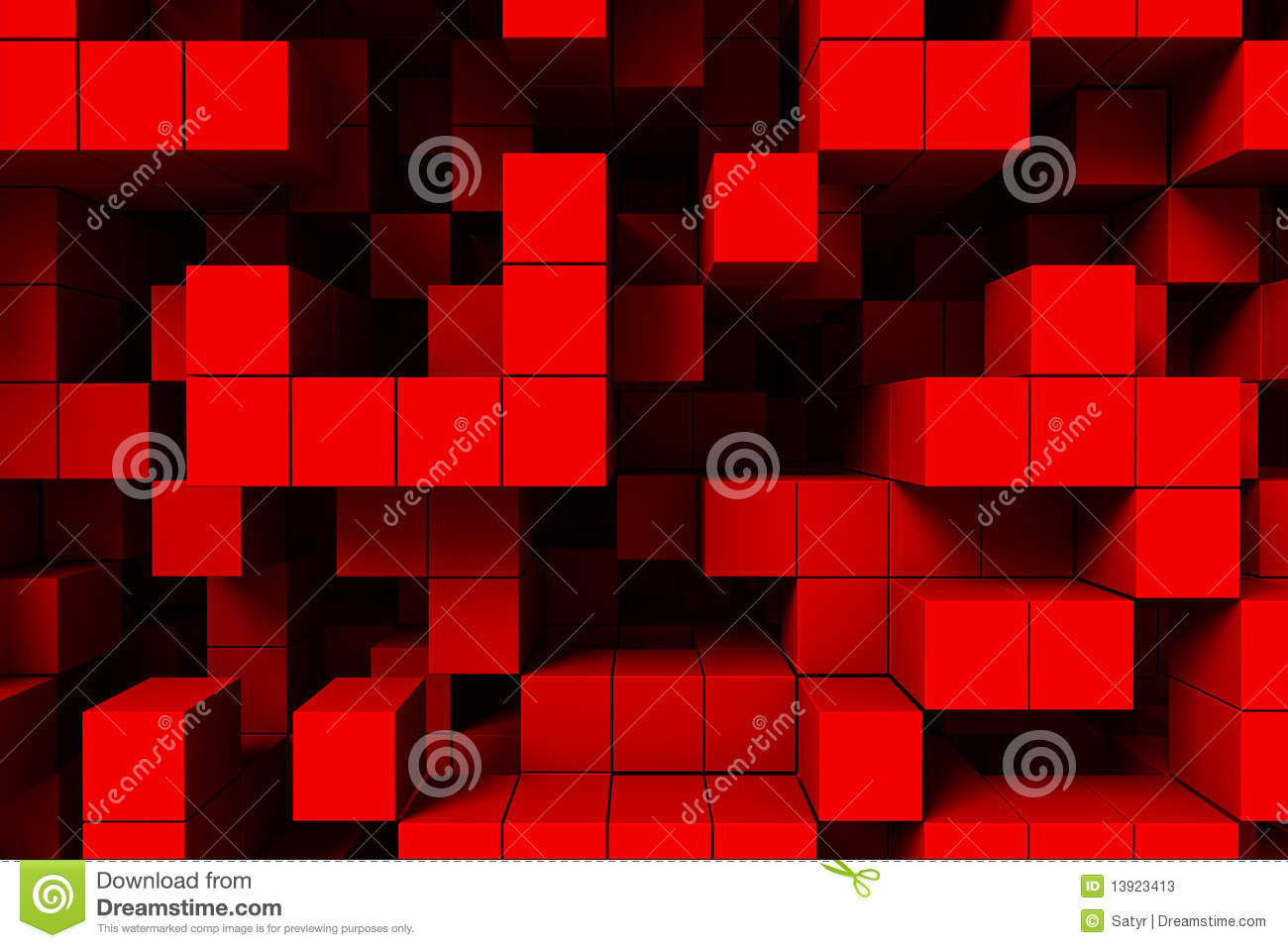 Abstract background red cubes 3d