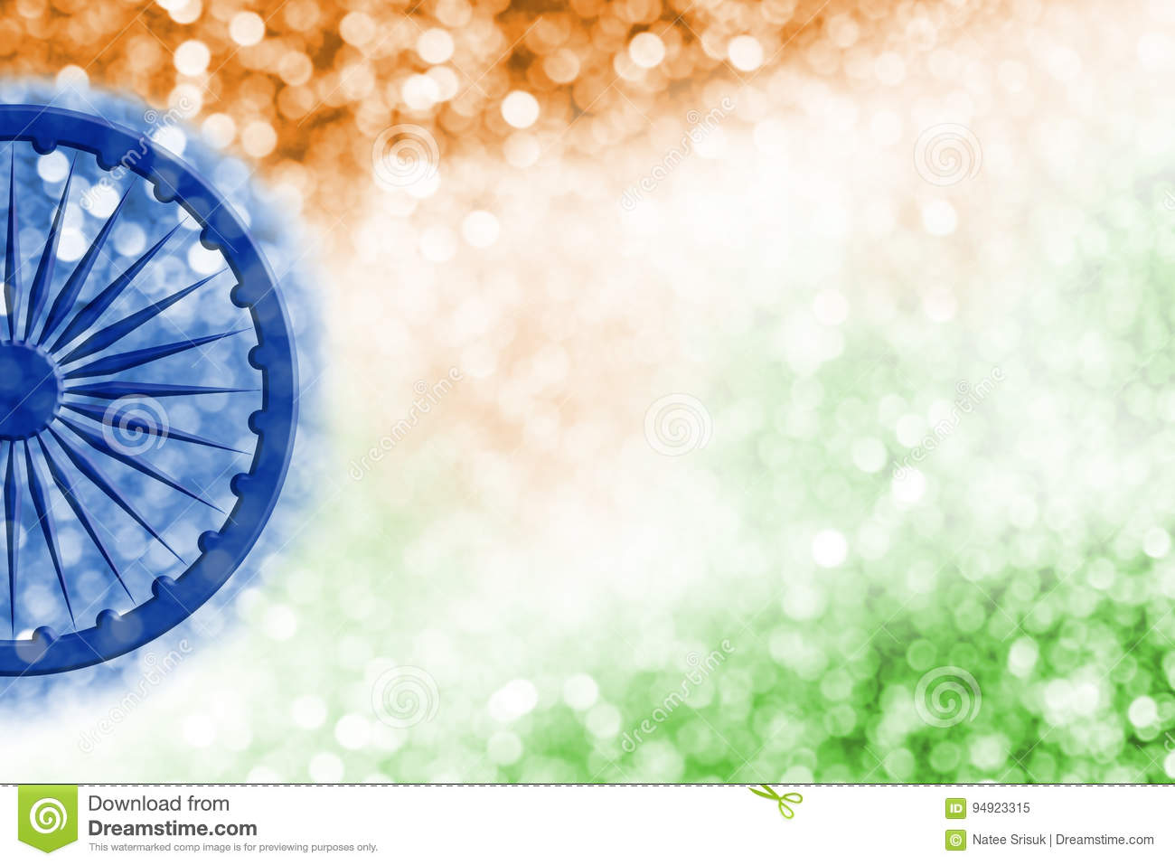 Creative Watercolor Indian Flag Background For Indian: Abstract Background Design Of India Flag And Bokeh Stock
