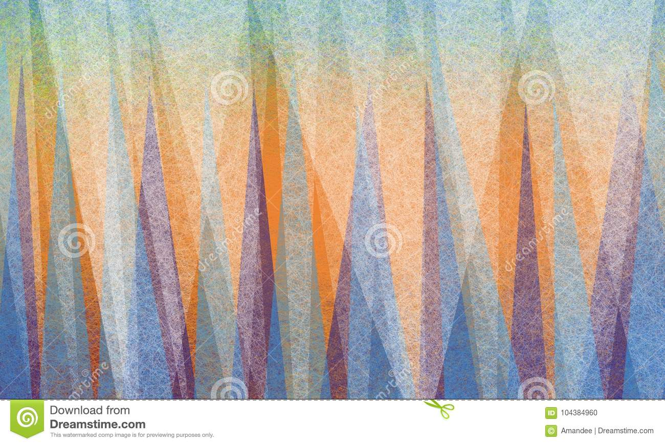 Abstract background design with triangle shapes in white parchment texture on bright colorful shards of blue green and purple on b