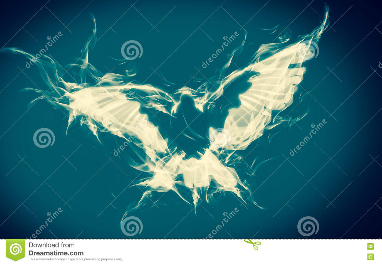 Abstract Background Of Dove On Fire Flying In Blue And