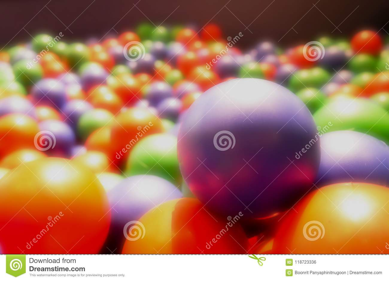 Abstract background, dreamy colorful rubber ball. Toy for kids,