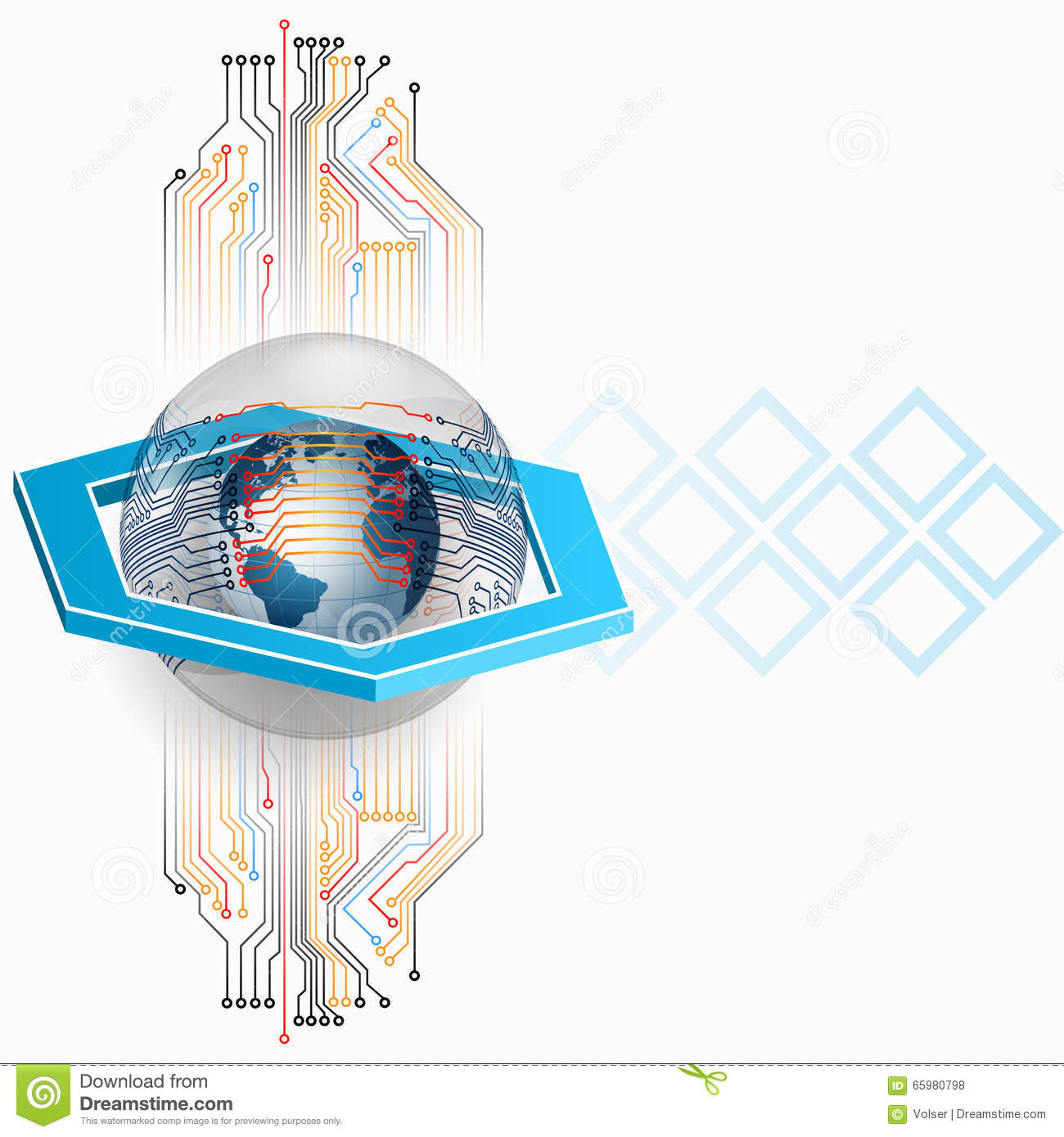 Abstract Background With Electronic Circuits And Earth Globe Stock ...