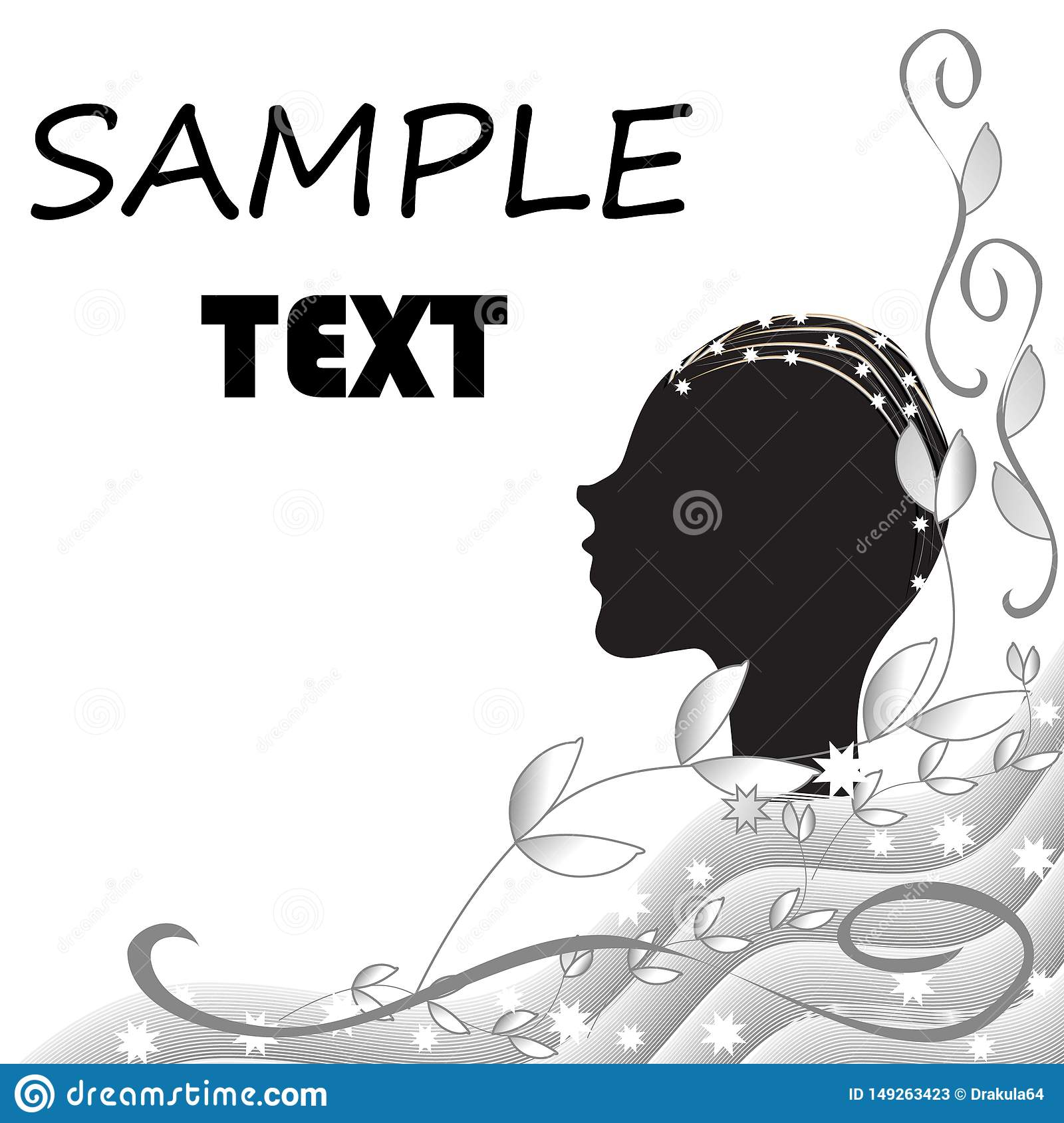 Abstract black and white background with the silhouette of a female head
