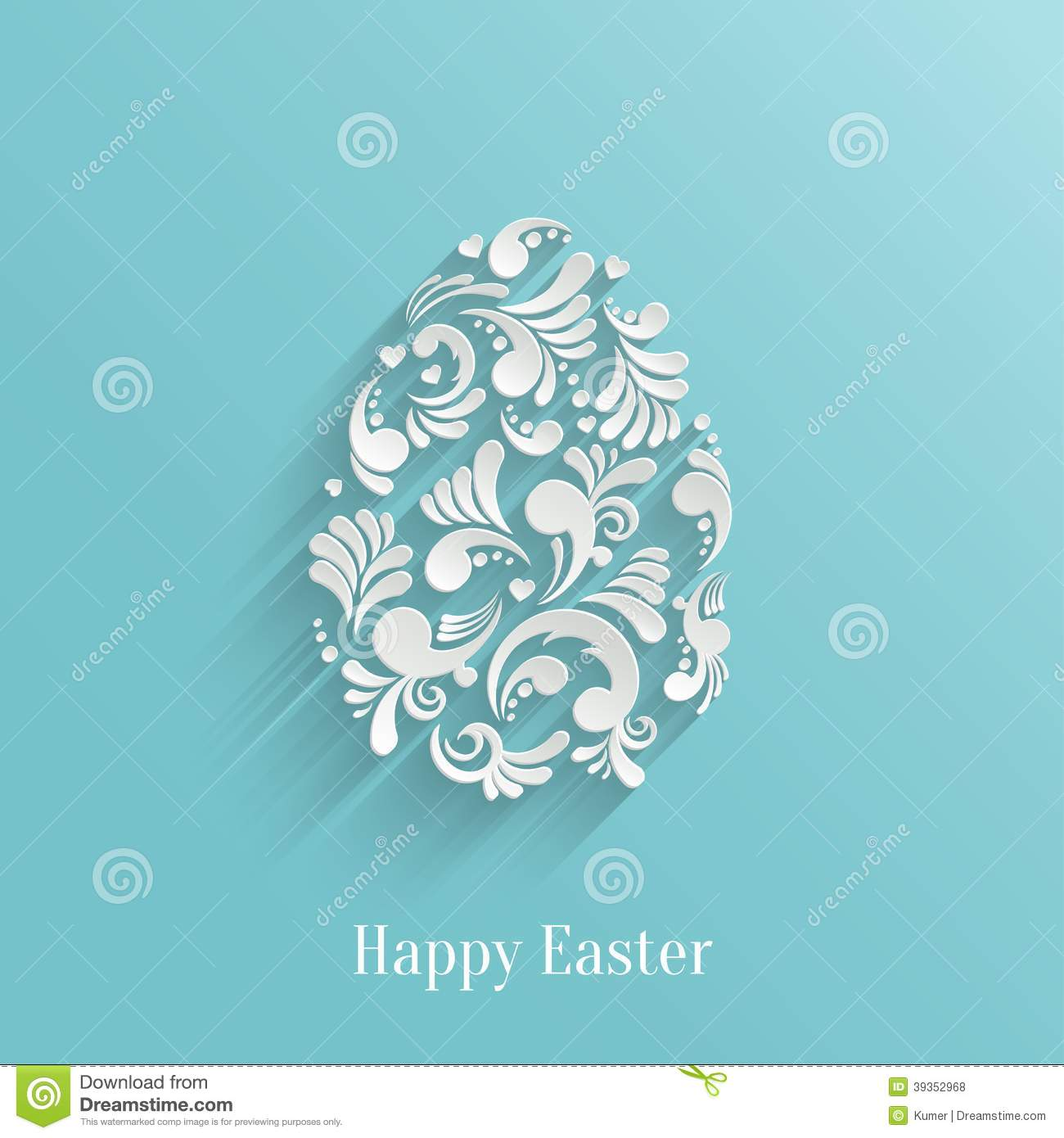 Abstract Background With Floral Easter Egg Stock Vector