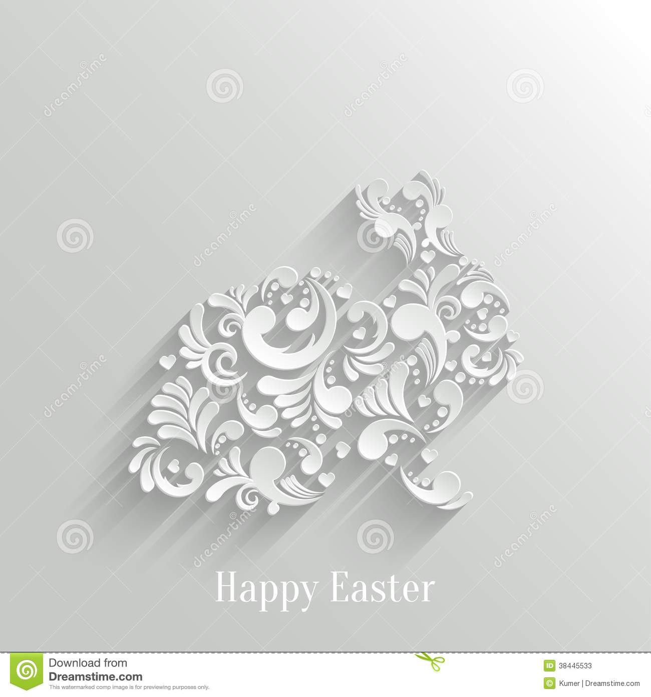 Abstract Background With Floral Easter Rabbit Stock Vector ...