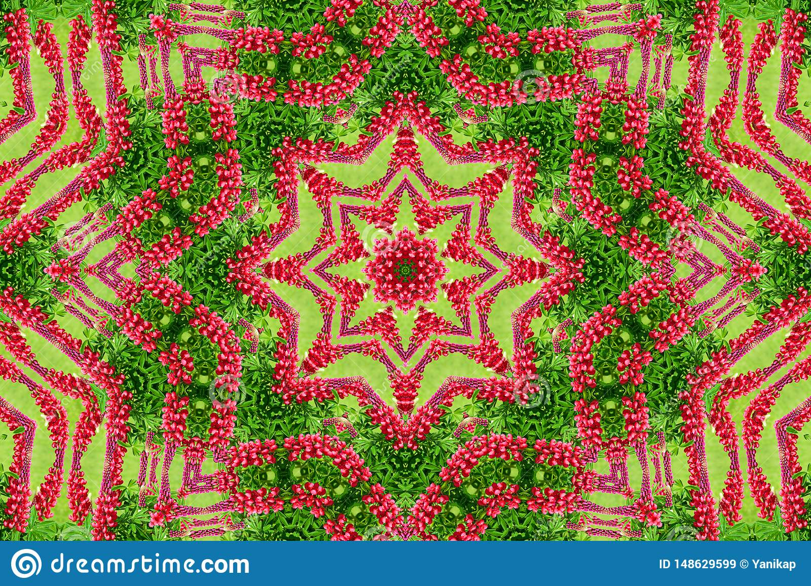 Abstract background of flower pattern of a kaleidoscope