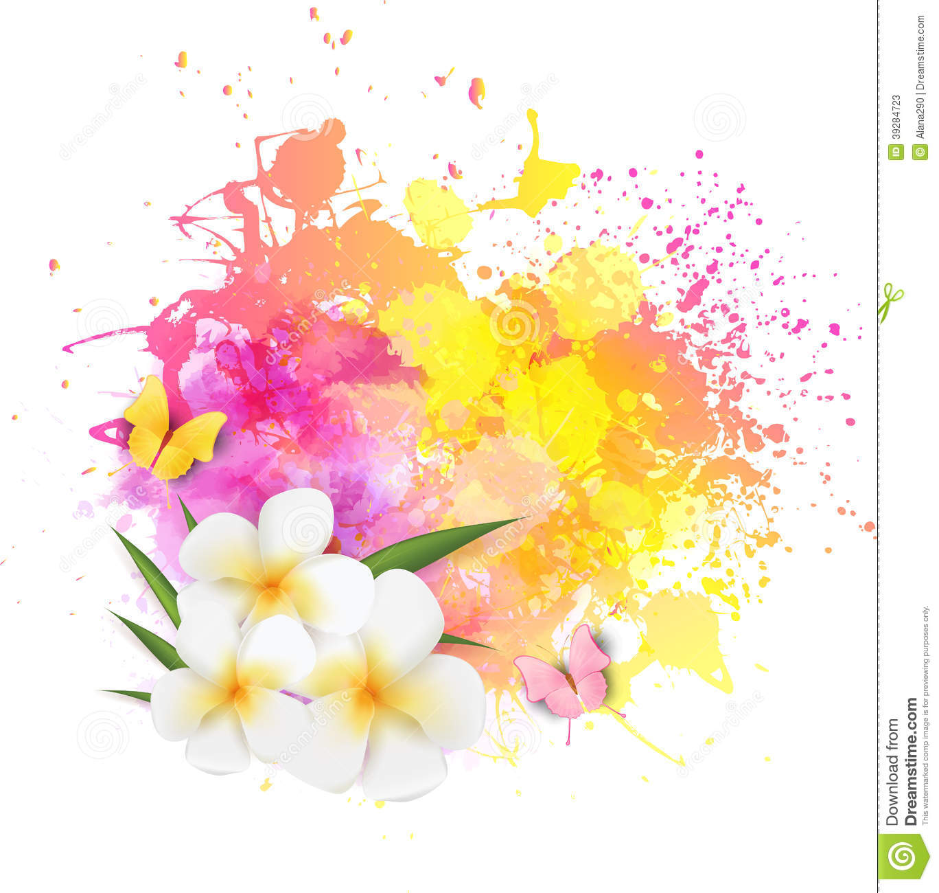 Abstract Background With Flowers And Butterflies Stock