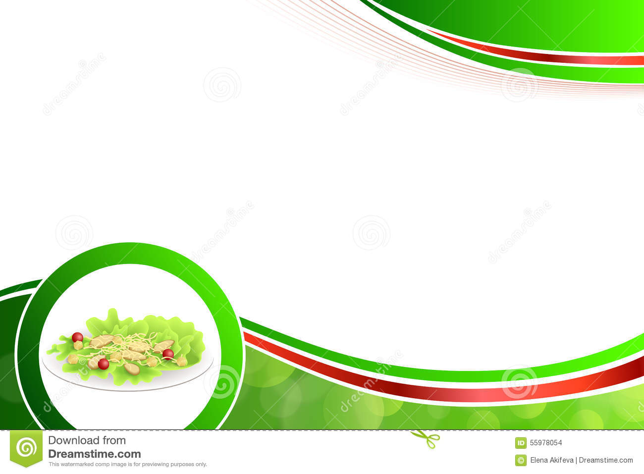 Abstract background food chicken Caesar salad tomato crackers green red yellow illustration