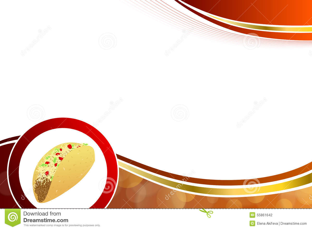 Abstract Background Food Taco Red Yellow Wave Frame