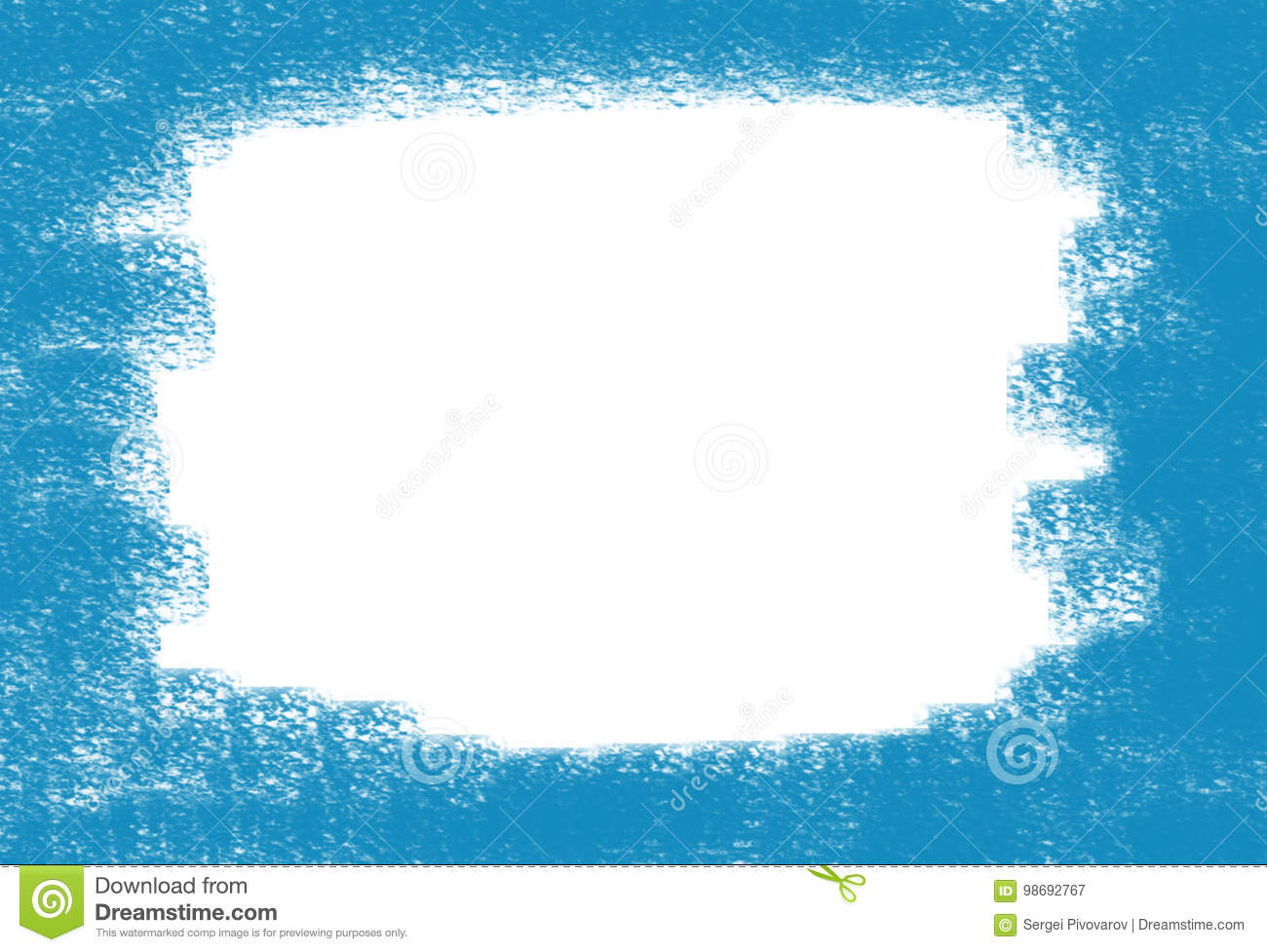 Abstract background frame whitewashed spot on canvas painted blue paint