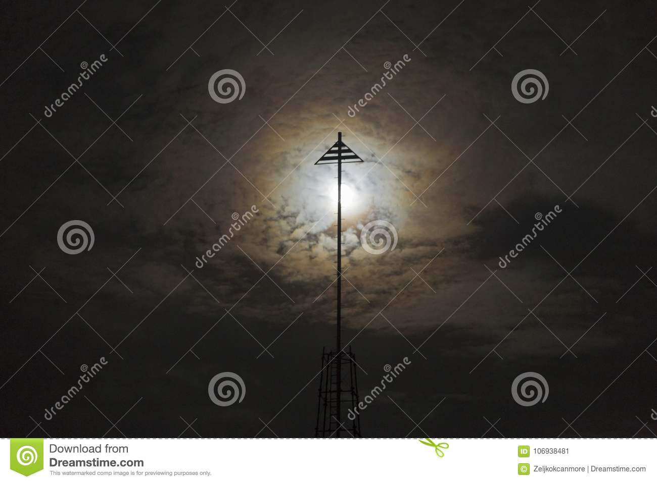 Abstract Background of Full Moon Rising behind Iron Post Silhouette on Torrey Pines Gliderport in San Diego