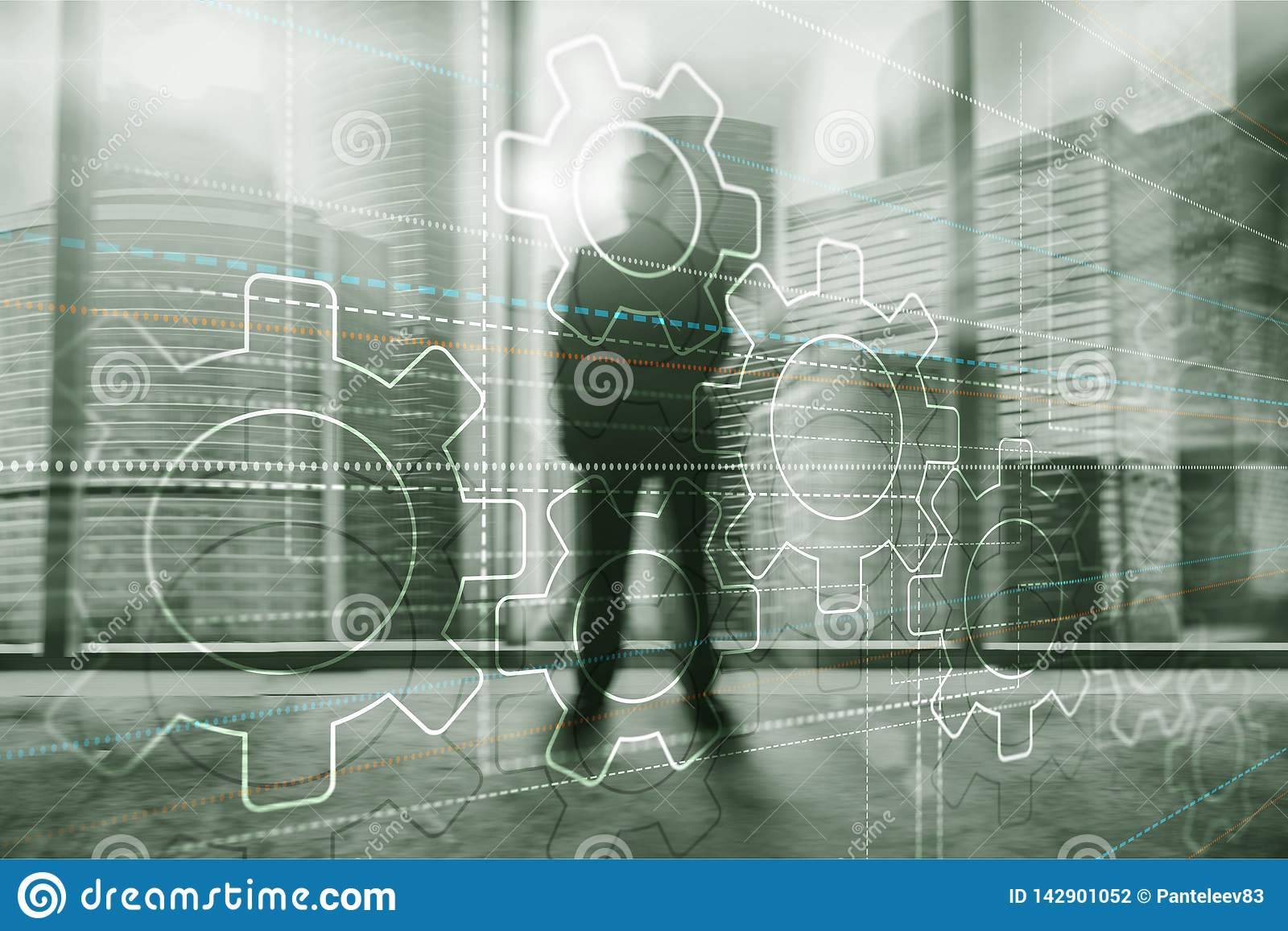 Abstract background gears concept. Silhouettes of business people on city background. Universal Technology Wallpaper