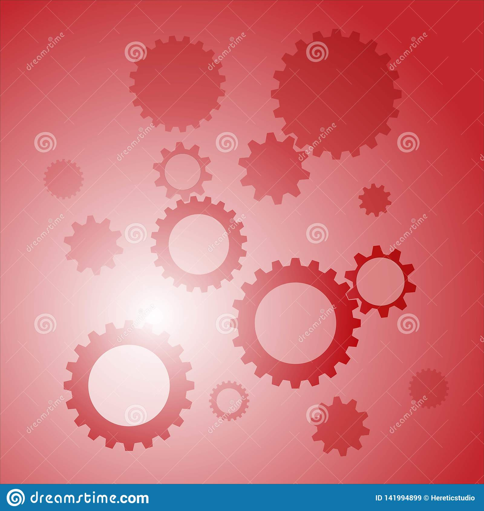Vector picture red background with gears