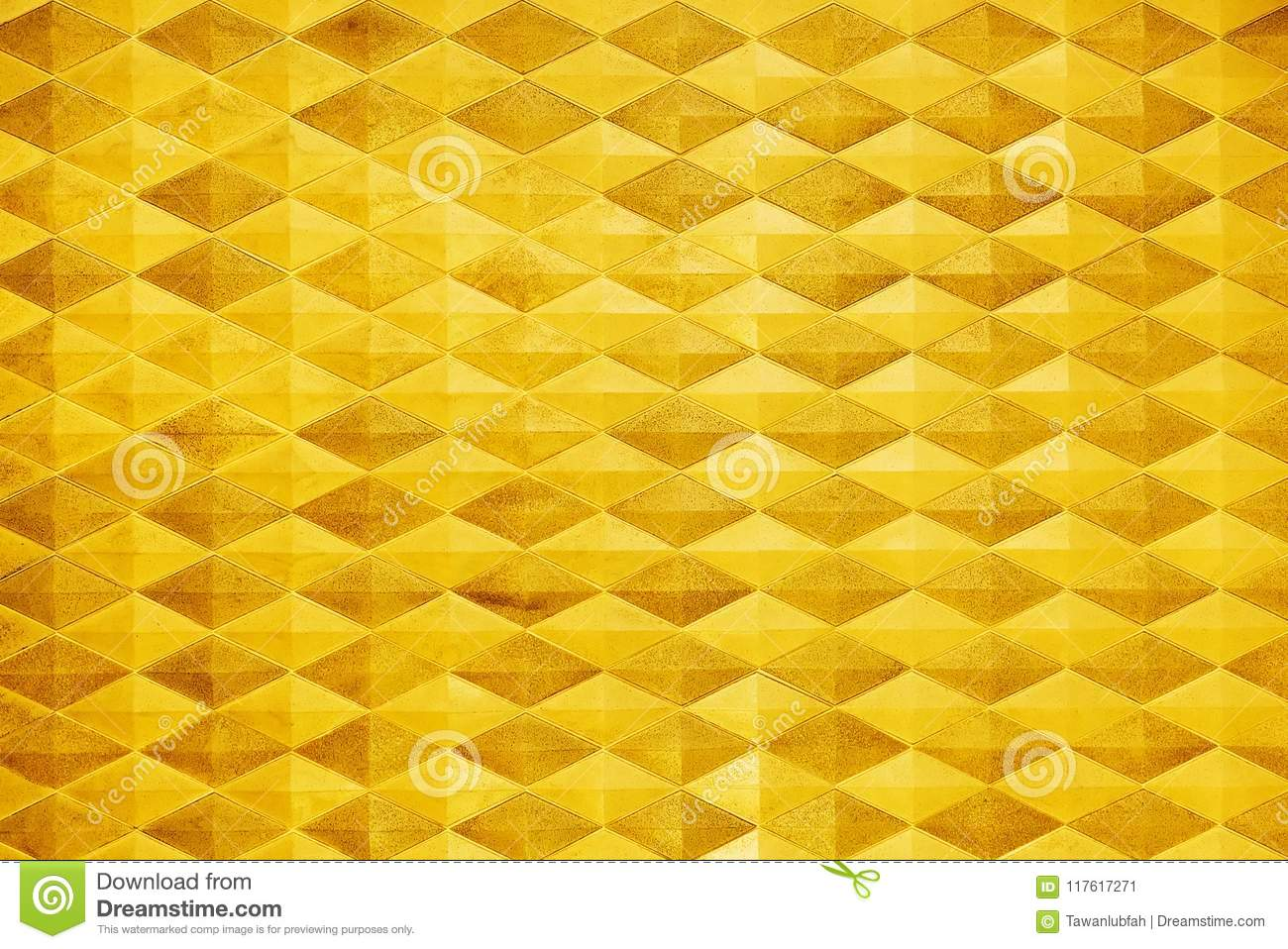 Abstract Background From Golden Brick Pattern Decoration On Wall ...