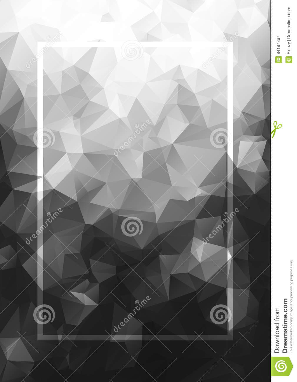 Abstract background gray frame. Geometric vector pattern