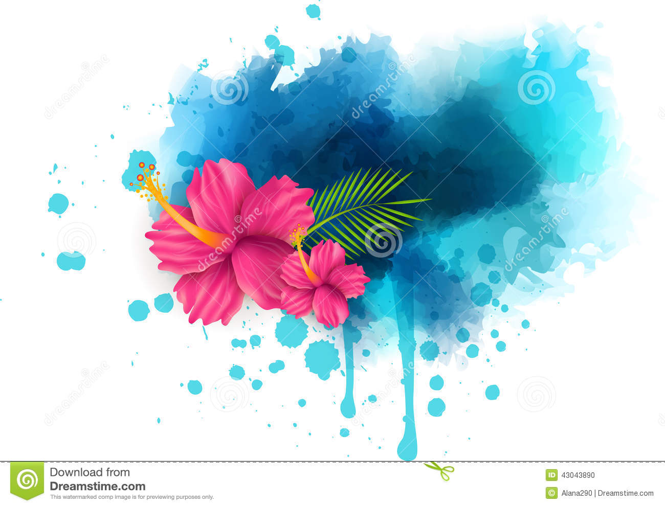 ... summer background with hibiscus flowers on colorful watercolor splash