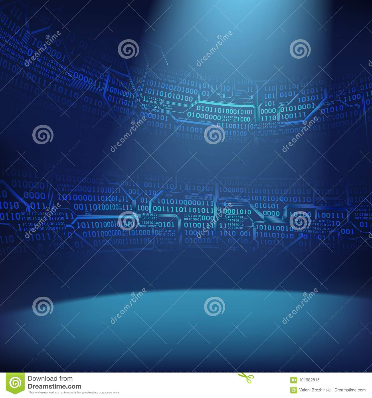Abstract Background With Illuminated Foreground And Strips Of Binary Royaltyfree Images Code Circuit Board Royalty Free Vector Printed Boards Concept