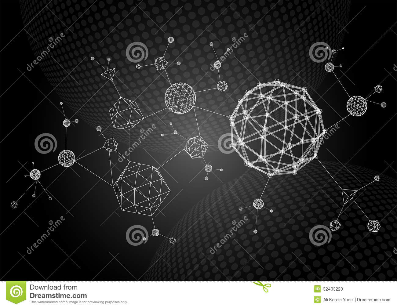 Abstract 3d Wireframe Molecules Stock Vector