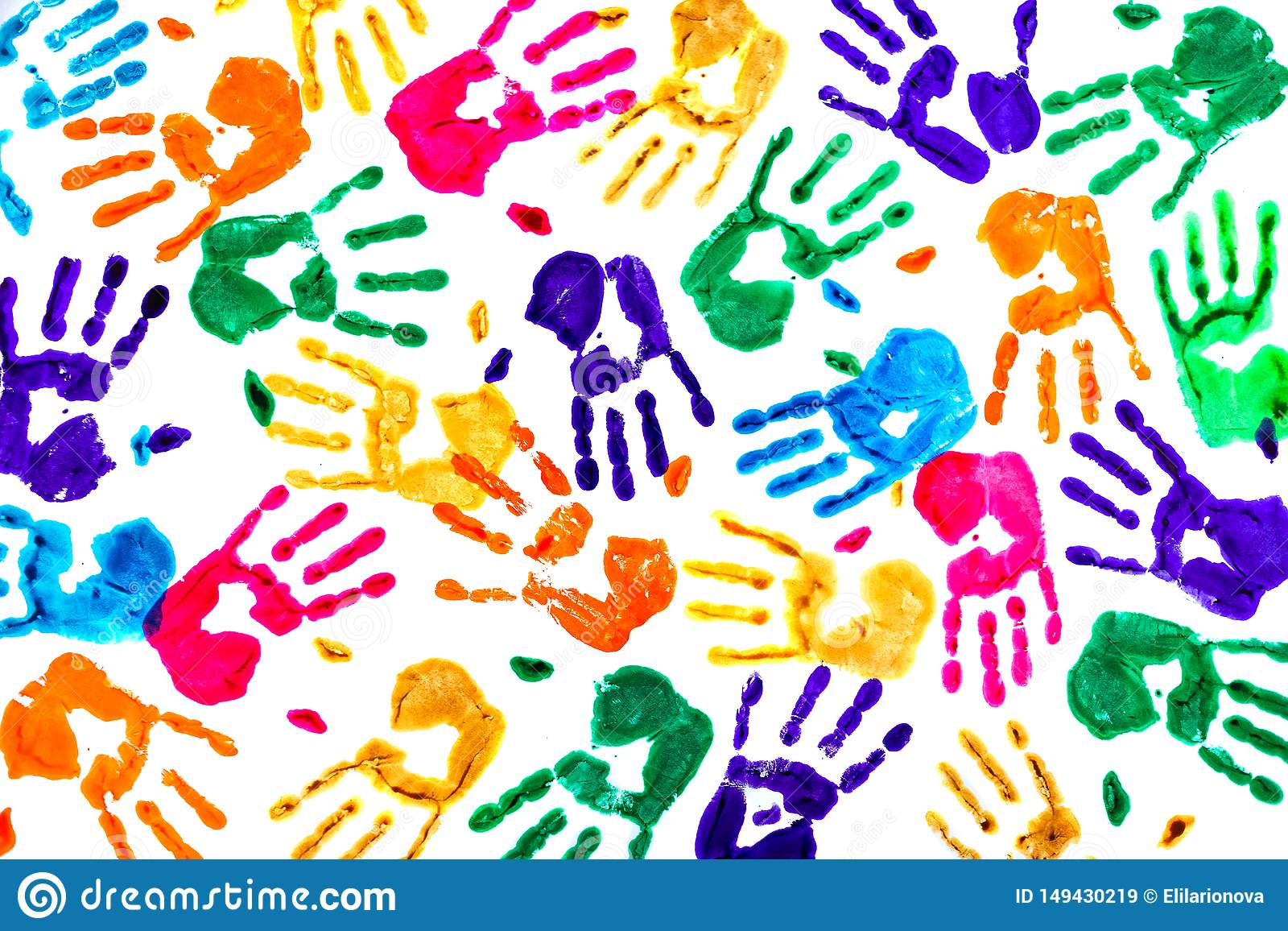 Abstract background made from colored handprints