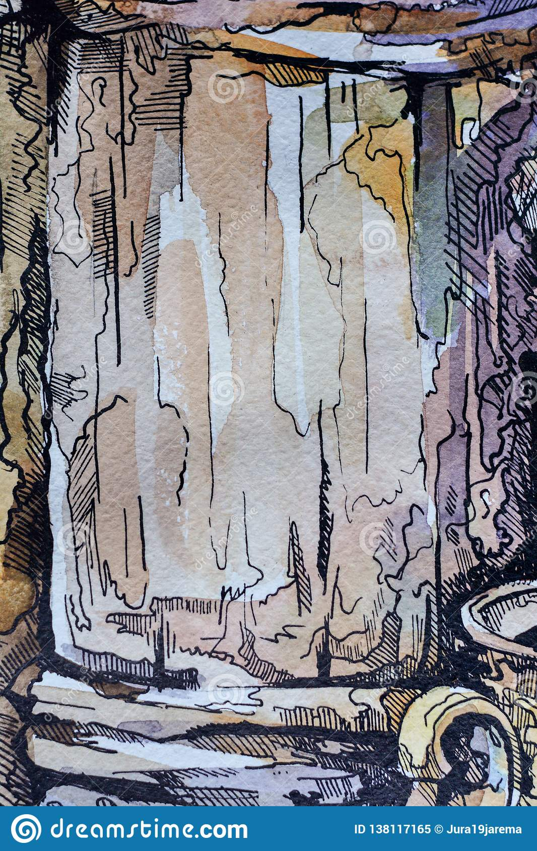 Abstract background oil painting and pen, hand-painted texture, splashes, drops of paint, paint smears