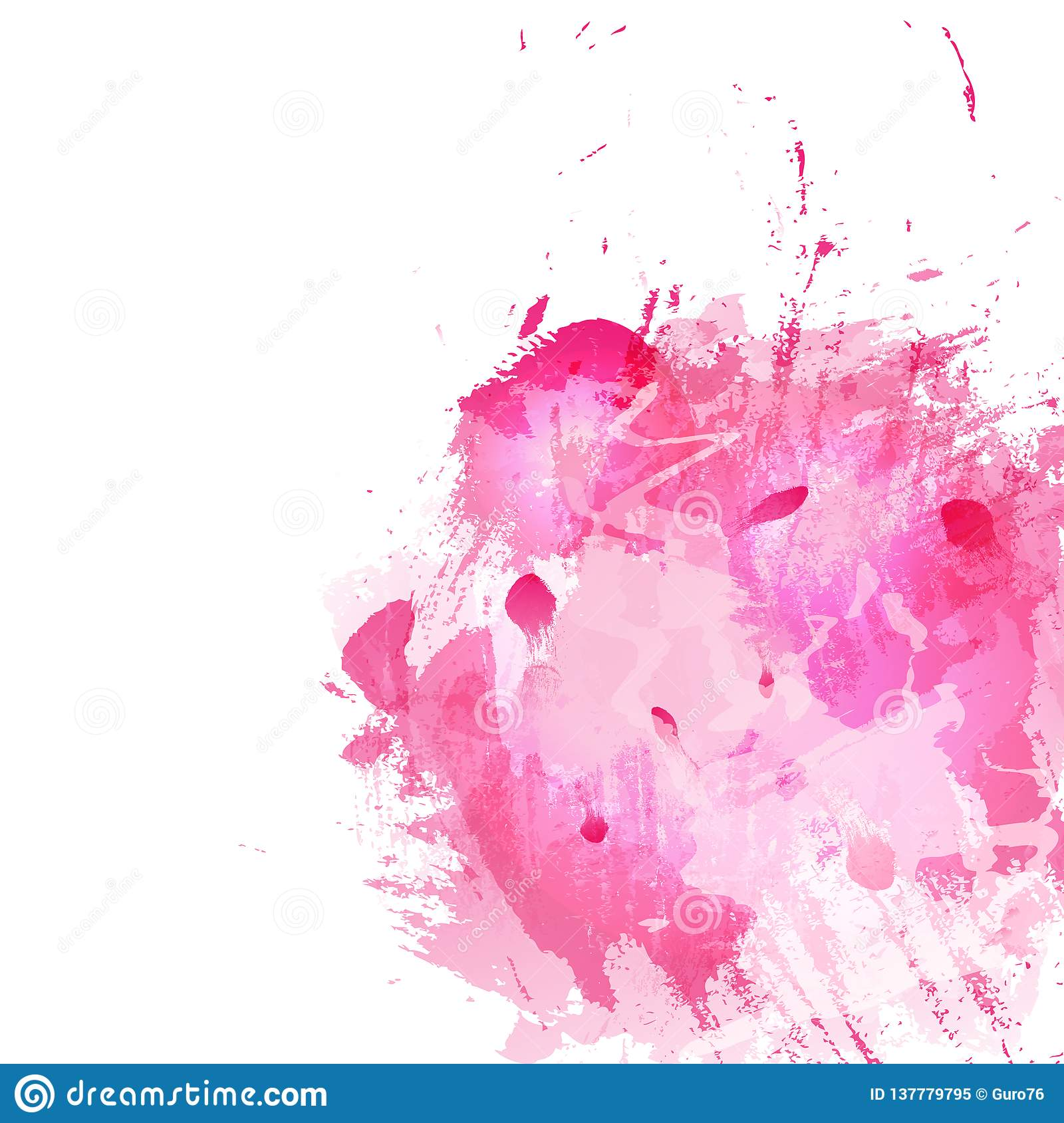 Abstract background with pink spots and splashes of paint
