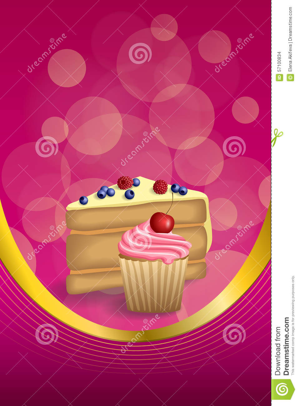 Abstract Background Pink Yellow Dessert Cake Blueberry