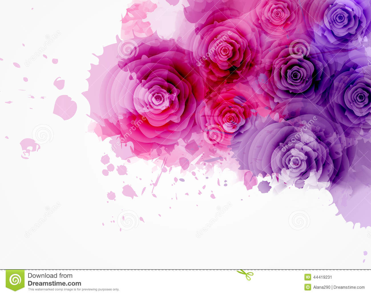 abstract background with roses stock vector