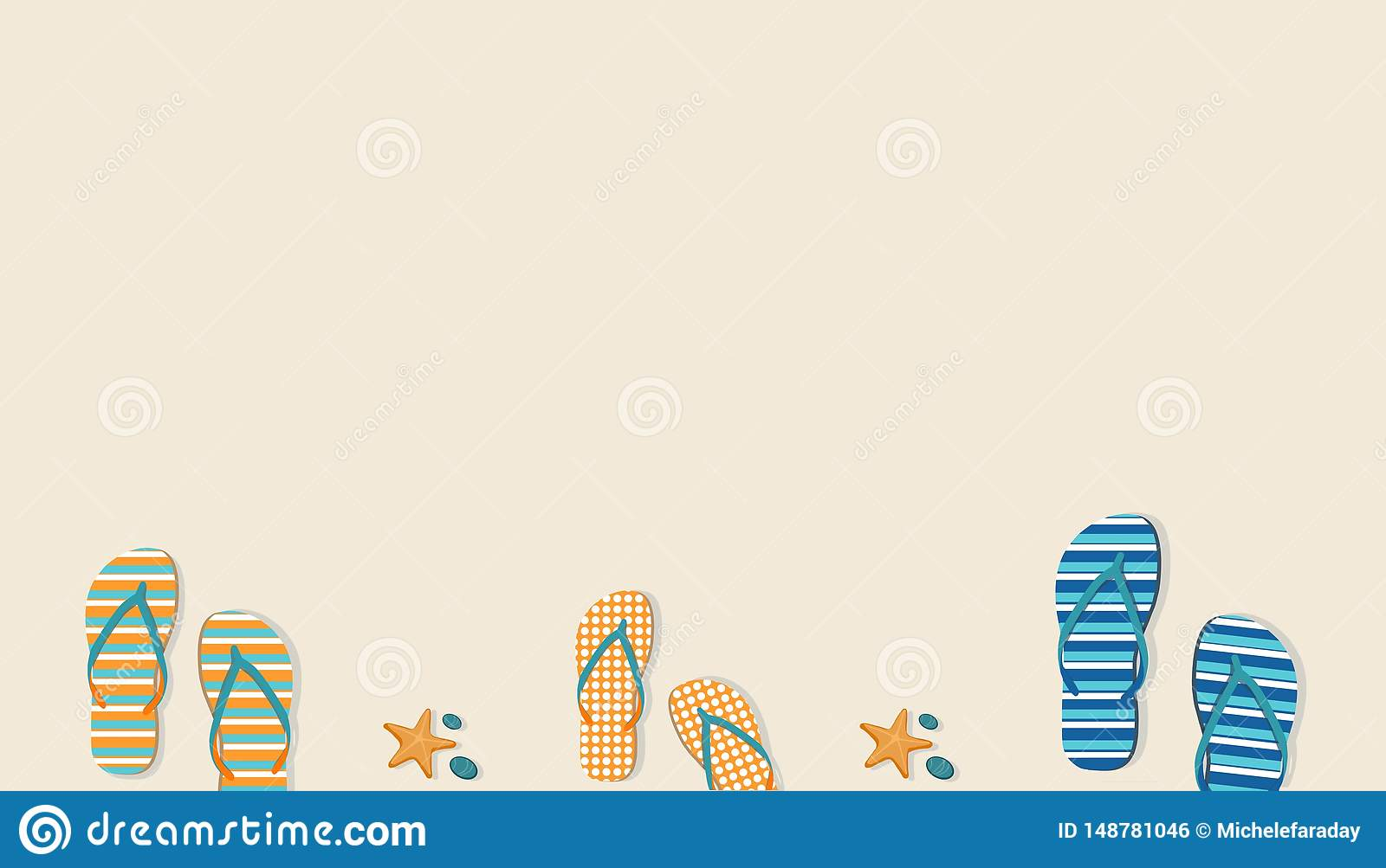 Pastel background with sandals and starfishes. Summer concept