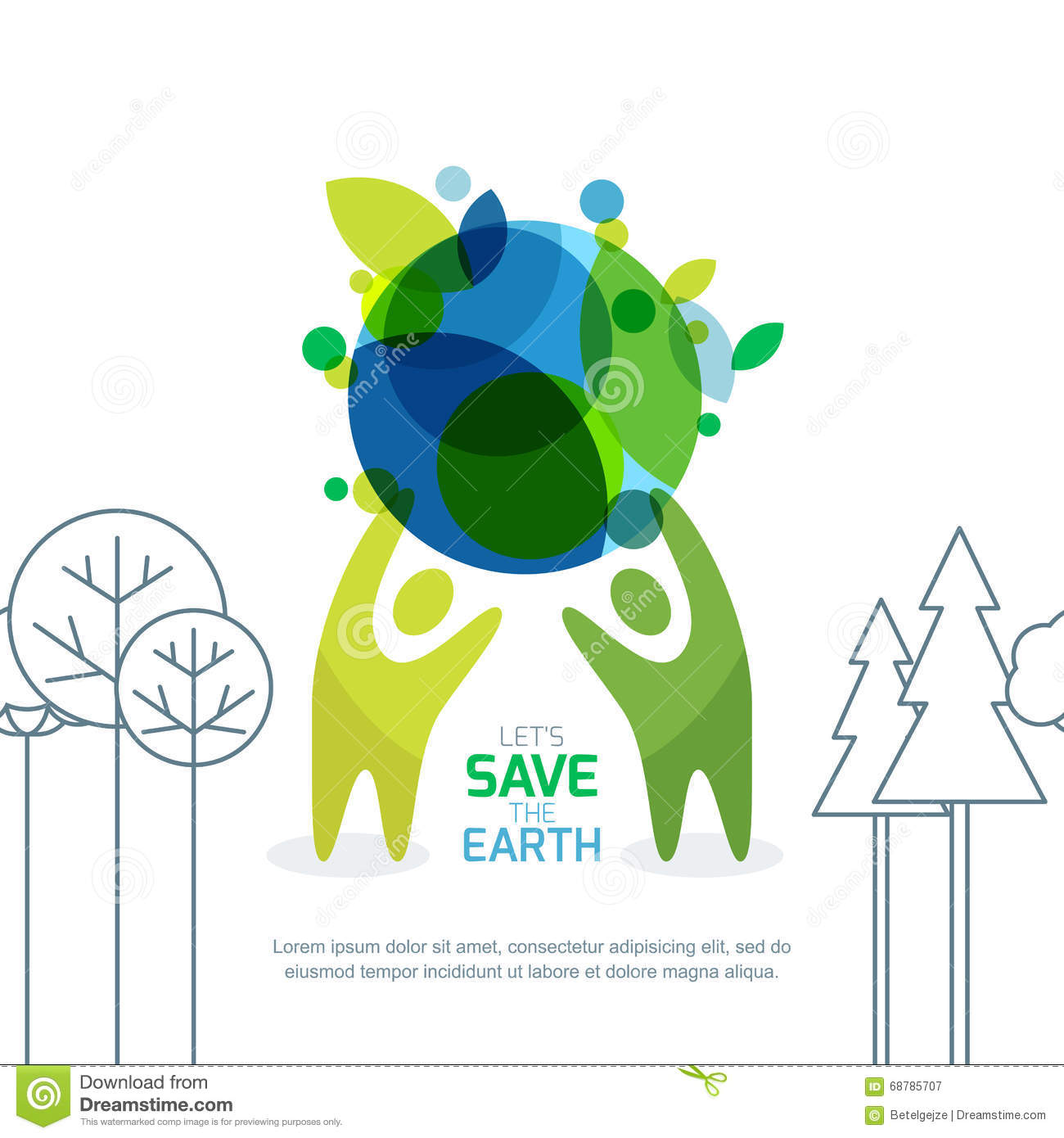 Poster design on save earth - Royalty Free Vector