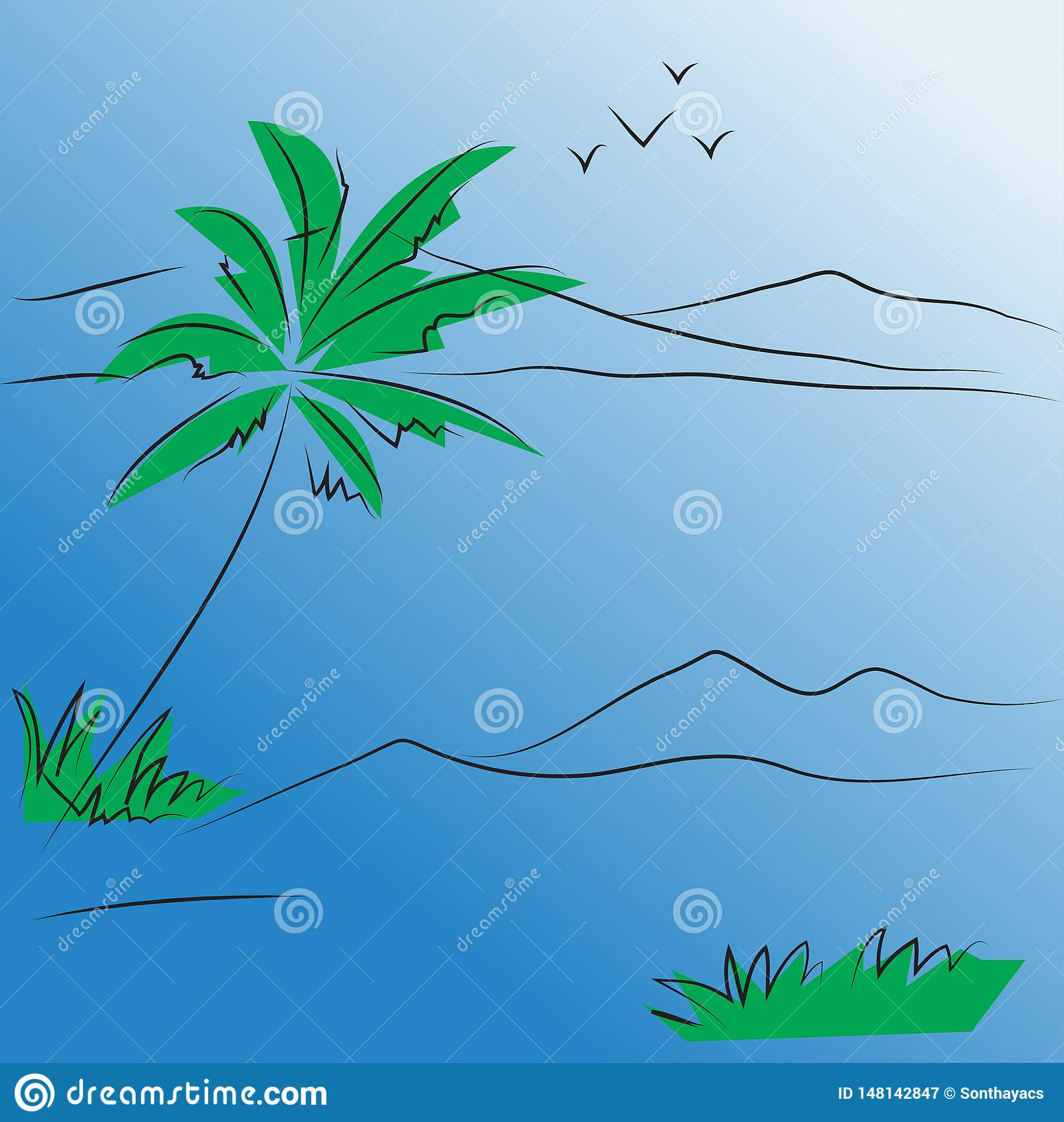 Abstract background seascape vector tree and mountain