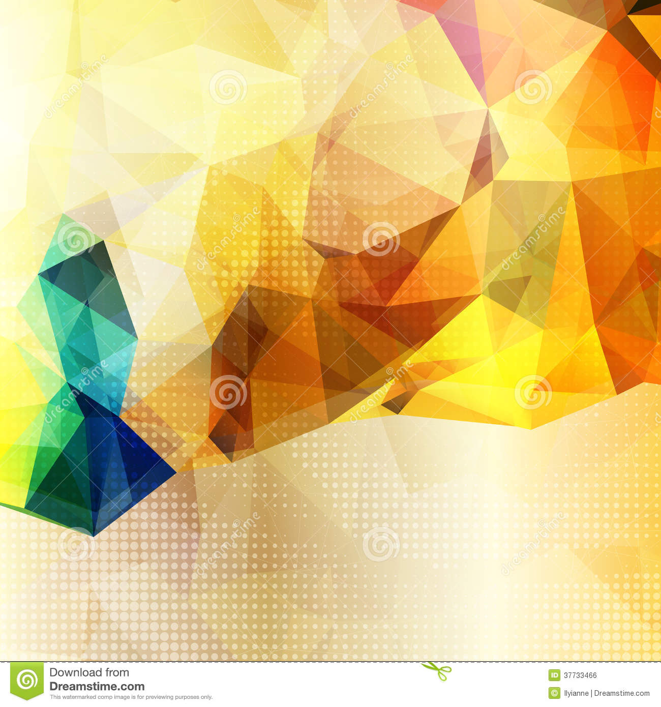 Green Polygonal Business Card: Abstract Background With Shining Yellow Triangles Stock