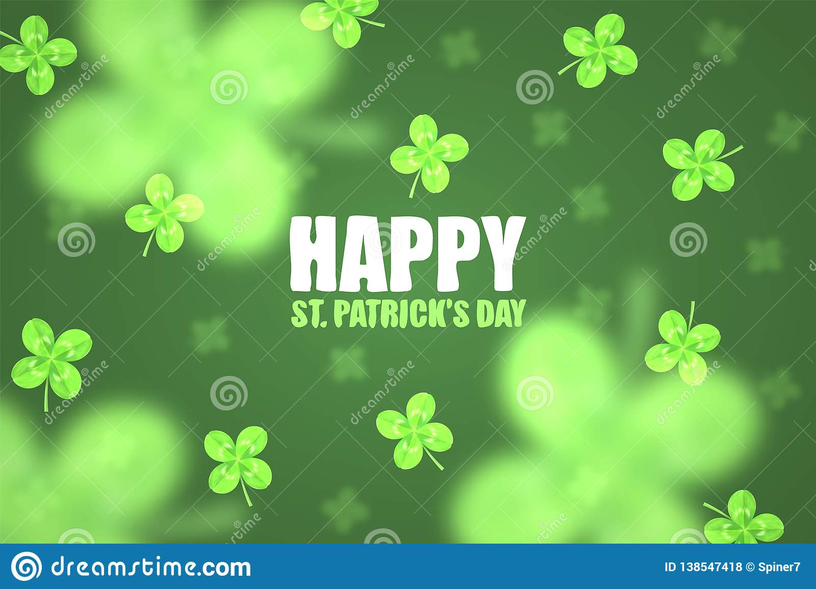 Abstract background for St. Patrick`s day. Clover leaves in the foreground and background blurred.