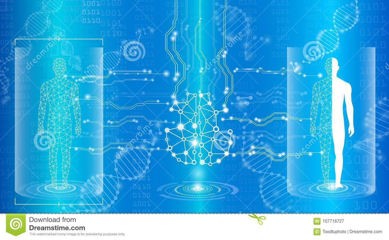 Abstract background technology concept in blue light,brain and h