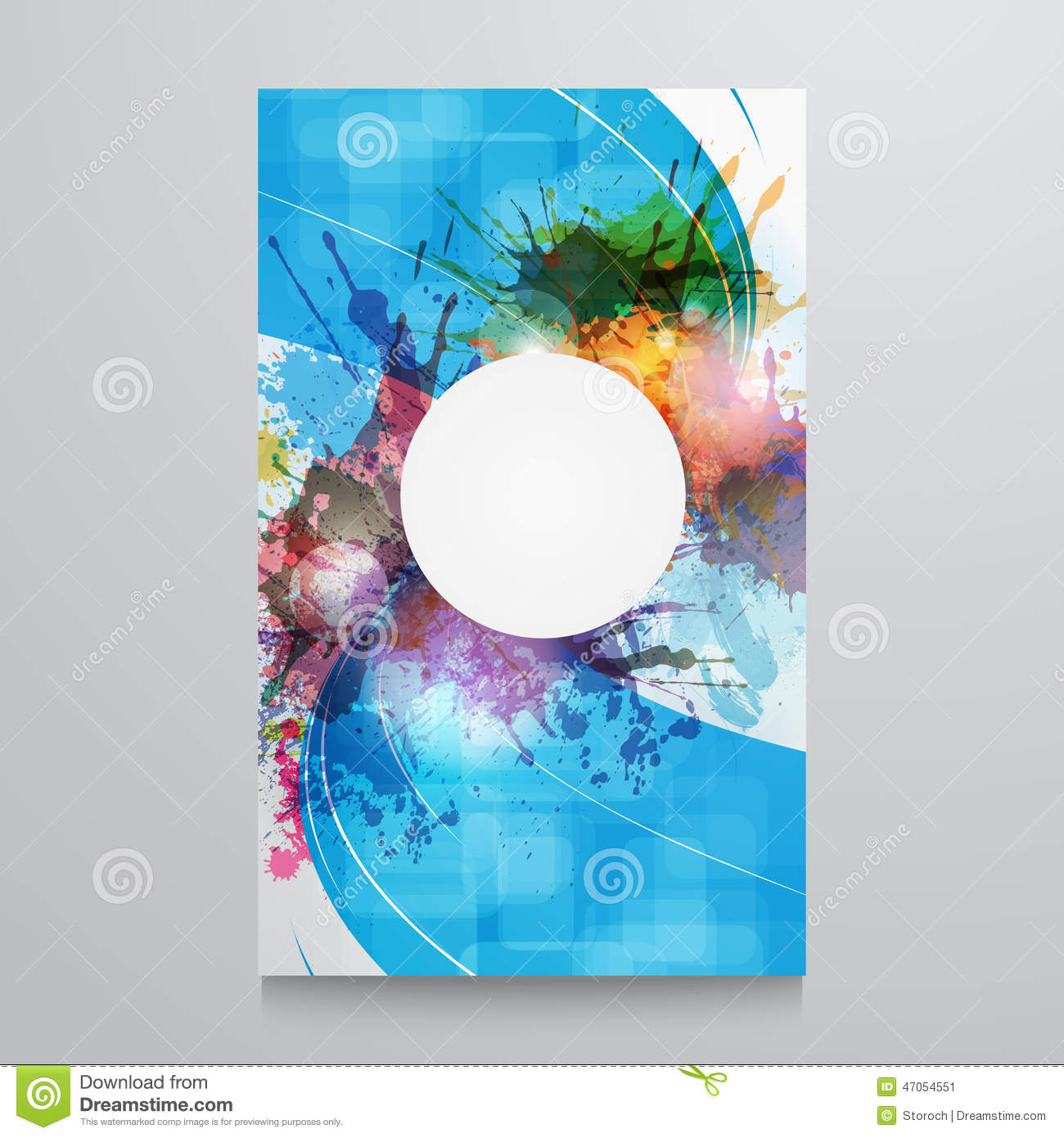 Abstract background template poster with watercolor paint for Watercolor painting templates free