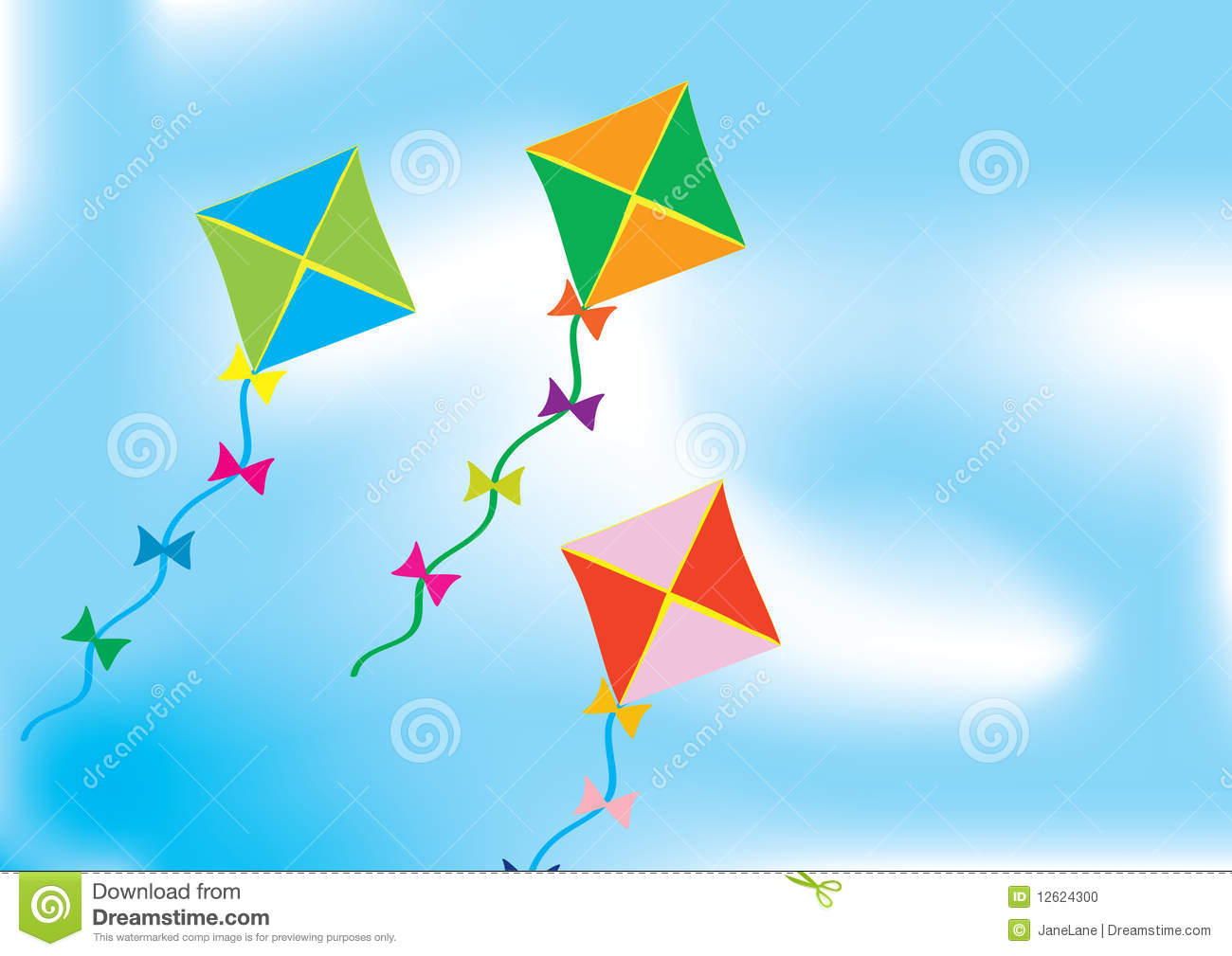 Abstract Background With Three Colour Kites Stock