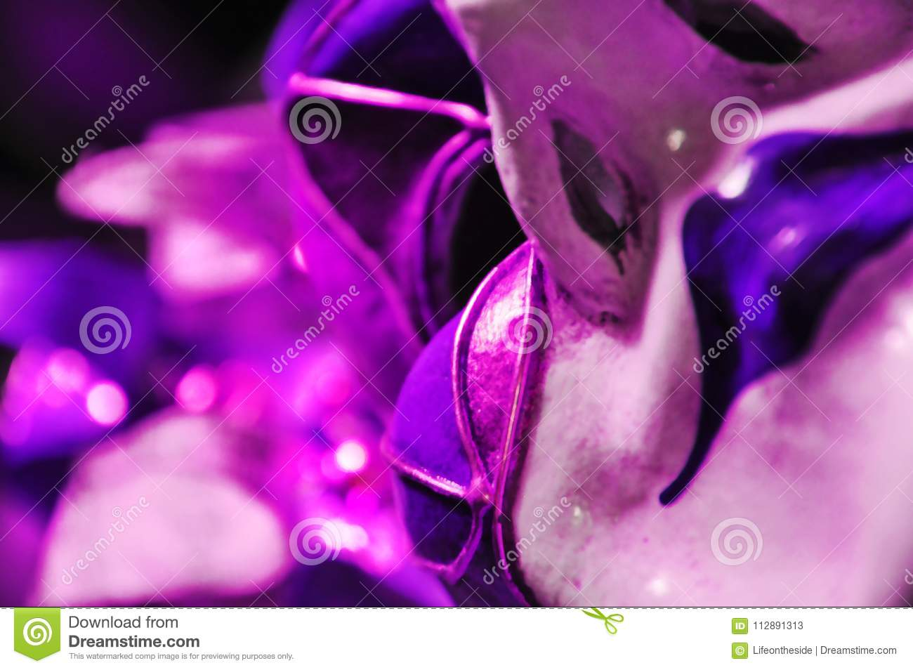 Abstract background ultra violet Venetian masquerade mask, self image concept