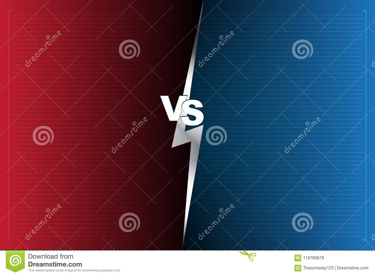 Abstract Background versus screen Red and blue VS letters