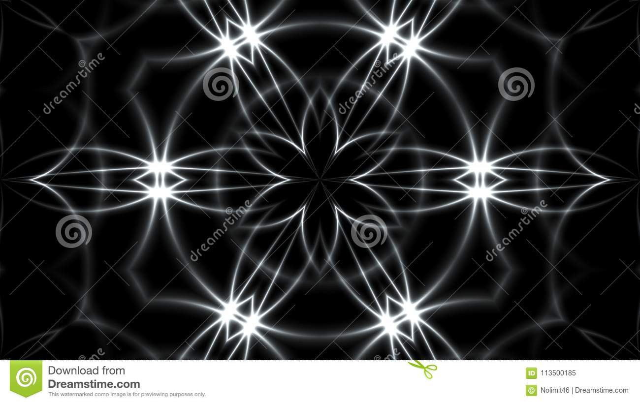 Abstract background with VJ Fractal silver kaleidoscopic. 3d rendering digital backdrop