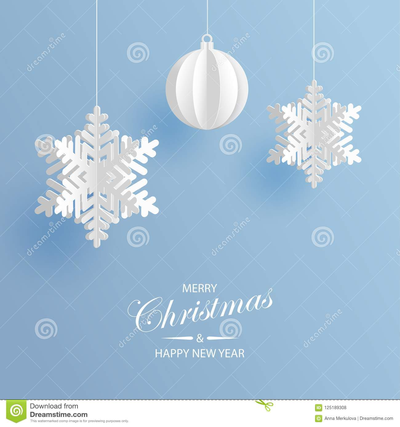 Abstract Background With Volumetric Paper Snowflakes Stock Vector
