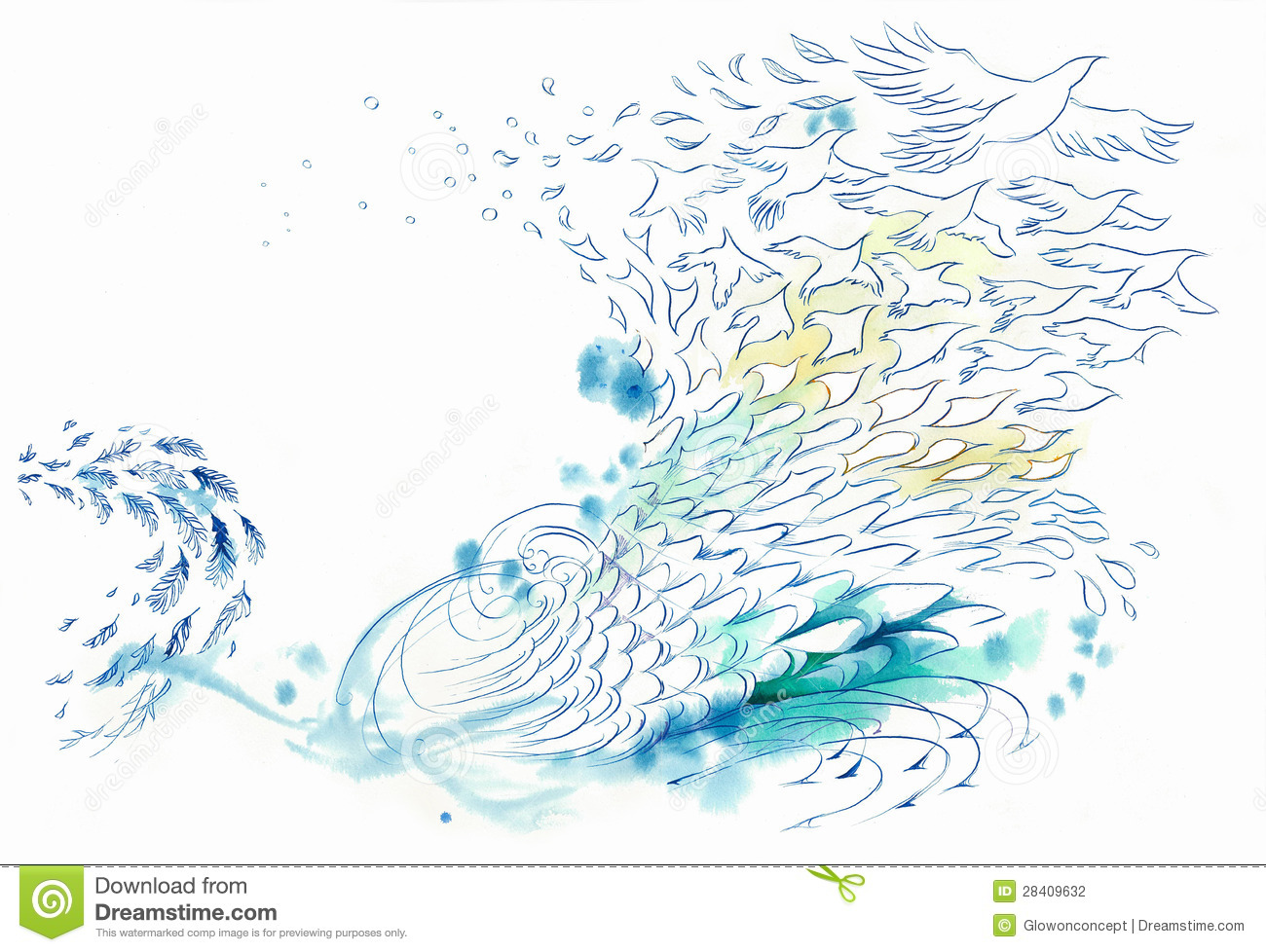 Stock Photography Abstract Background Wind Water Fish Bird Image28409632 on Plant Life Cycle Print