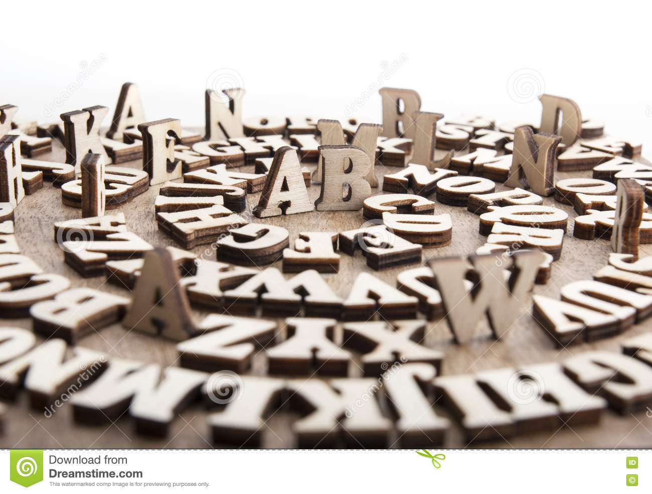 Abstract background with wooden alphabet letters