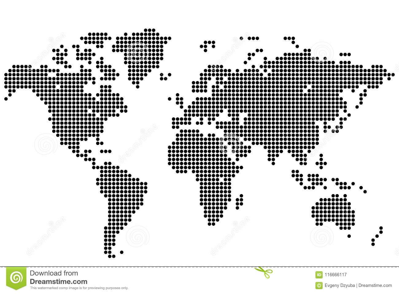 World map of round dots stock vector. Illustration of dotted ...